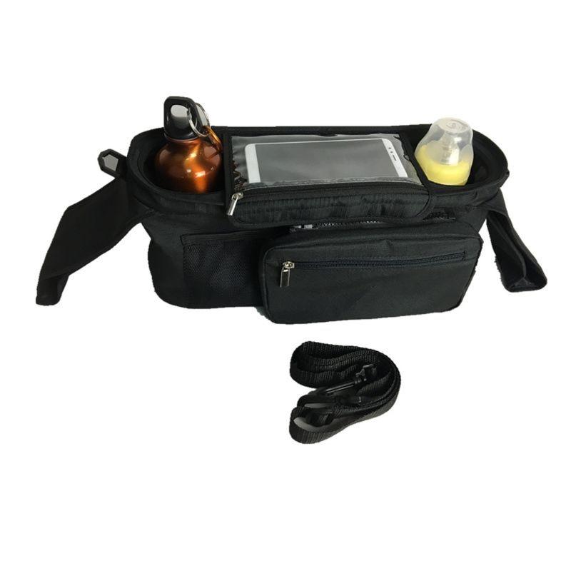 Bolso organizador de cochecito y cochecito con soporte de bolsillo para teléfono móvil y tapa con cremallera. Negro cochecito organizador