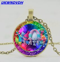 Hot Anime Magic Hair Elf Glass Pendant Necklace European and American Accessories