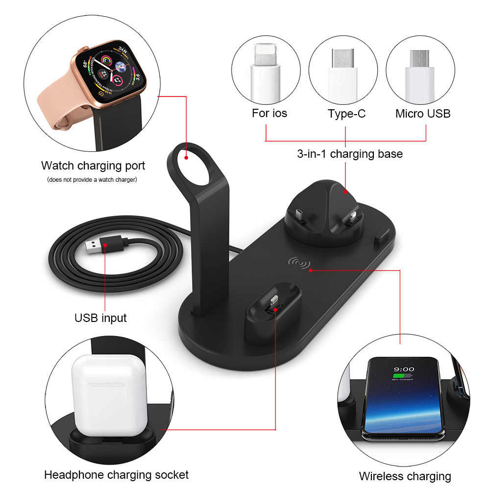 Fdgao Pengisian Dock Station untuk Apple Watch iPhone X XS XR 8 11 Samsung S10 S9 Airpods 10W Qi nirkabel Cepat Charger Stand Pemegang