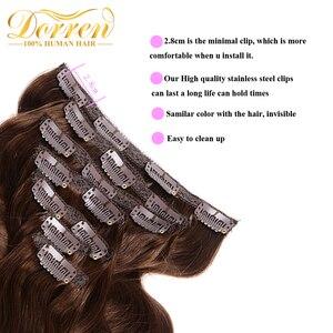 200 г волосы для наращивания на всю голову бразильские волосы Remy 100% натуральные человеческие волосы на заколках коричневого цвета