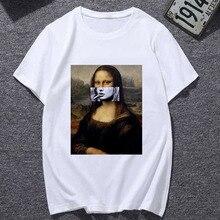 New Summer Mona Lisa Tshirt spoof personality fashion T Shirt Women Ullzang Vint
