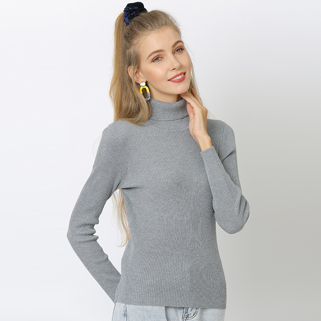 Duckwaver S~4XL Plus Size Women Sweaters Turtleneck Pullovers soft Primer Shirt  Long Sleeve Casual Slim-fit Knitted Sweater 10