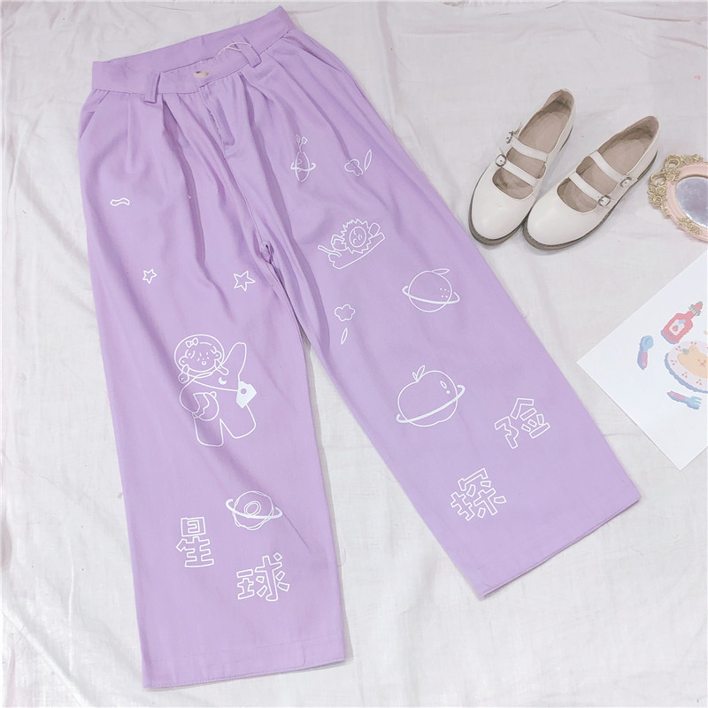 Womne Planet Print Casual Pants Cartoon Wide Leg Pants Wild Girls Small Fresh Soft Sister Spring Straight Pants College Style