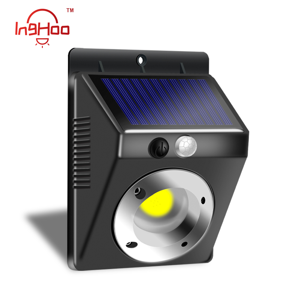 IngHoo COB Solar Light PIR Motion Sensor Outdoor Waterproof IP65 Lighting Decorative Street Light Security Wireless Wall Light
