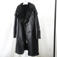 Maylofuer Long Real Sheepskin Leather Jacket Female Coat Natural Fur Coat for Winter Woman Tuscany Wool Locomotive Suit Black
