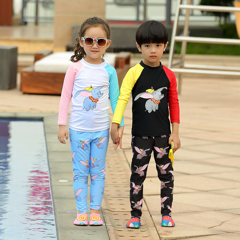 Korean-style Dumbo KID'S Swimwear Children GIRL'S Large BOY'S Long Sleeve Trousers Sun-resistant Cartoon Solid Color Swimming Se