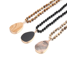 2019 New Custom Necklace Bohemian Tribal Trendy Natural Stone Jewelry Drop Pendant Stone Necklace 90cm Long Necklace for Women retro jewelry flowers photo locket necklace natural stone long necklace for women vintage