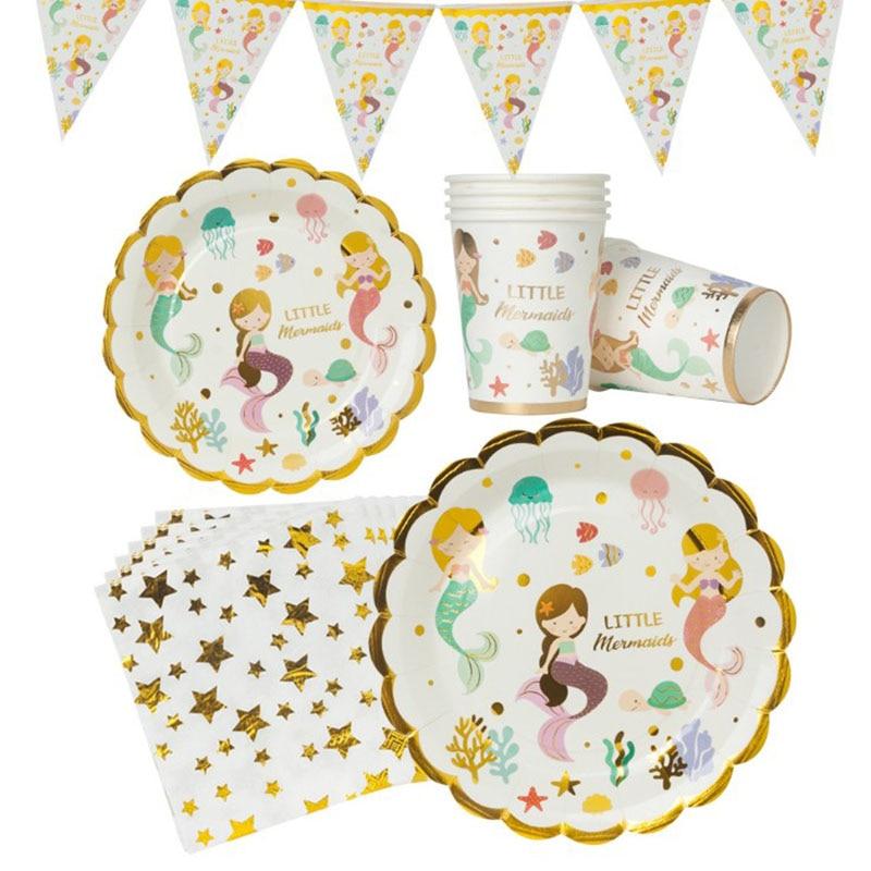 Вечерние принадлежности в виде русалки для детей, украшения на день рождения, одноразовая посуда, набор бумажных тарелок, чашка, баннер, декор для детского душа