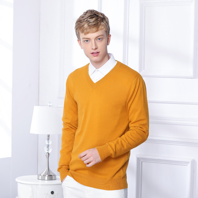 V-Neck Men's Cashmere Wool Knitted Sweater Brand Solid Color Men Pullovers Casual Autumn Winter Basics Bottoming Tops YT80221