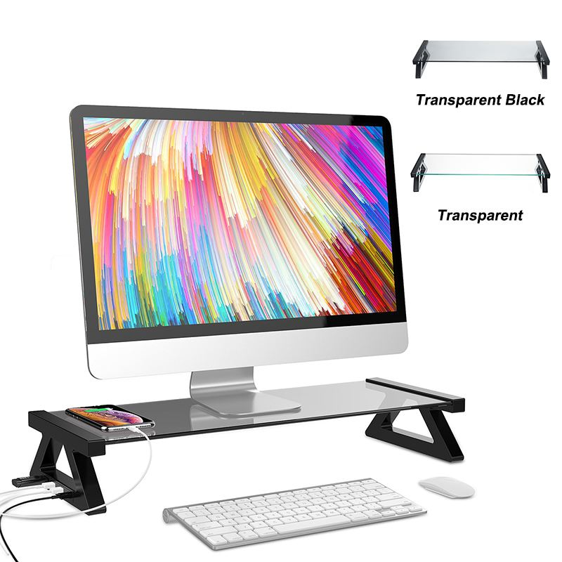 Computer Monitor Stand Aluminum Alloy Monitor Stand Computer Screen Riser Tempered Glass Plinth Strong Laptop Stand Desk