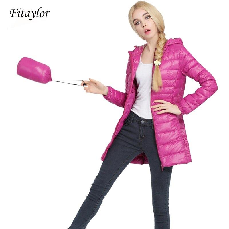 Fitaylor Autumn Winter Women Ultra Light Duck Down Coat Hooded Jackets Slim Medium Long Plus Size Parkas Thickness Overcoat