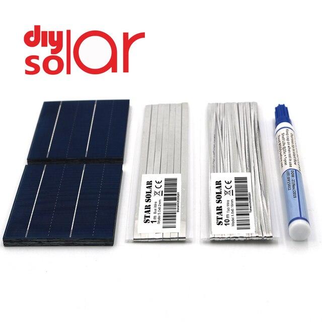 Bricolage Panneau Solaire 20 25 30 40 50 Watts 26 39 52 78 156 mm Chargeur Kit Polycrystall Cellule Solaire Fil De Tabulation De Flux Stylo