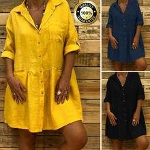 Womens Boho Baggy Casual Lady V-neck Half Sleeve Pocket Cotton Linen Mini Dress