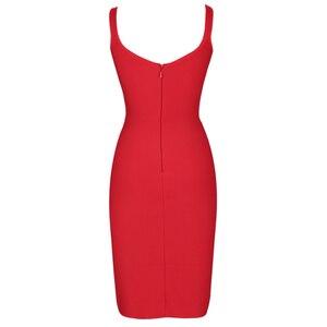 Image 5 - Ocstrade vermelho bandage vestido 2019 recém chegados outono inverno midi bandagem vestido sexy cinta de espaguete bodycon clube vestido de festa