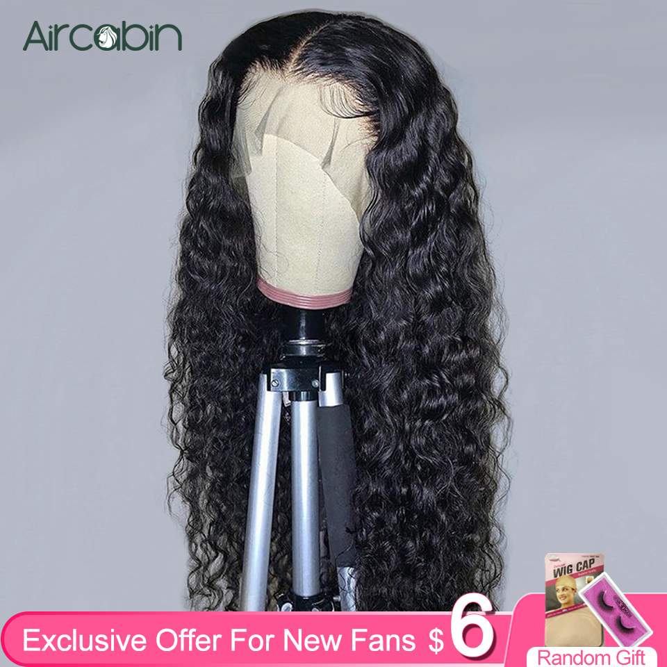 Aircabin 30 Inch Water Wave 13x6 Lace Front Wigs Brazilian Human Hair Wigs For Black Women Glueless Lace Closure Wigs Non-Remy