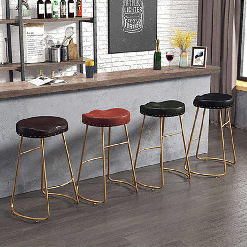 Nordic Bar Chair Golden Iron Art Coffee Shop Front Desk Household Stand Retro-Three Seating Heights Of Various Colors