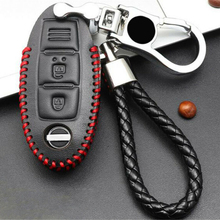 Bag Smart Key Case Pouch Leather Black Red Shell Housing Protection Cover Fob Holder Keychain Durable convenient durable leather key case holder for car black
