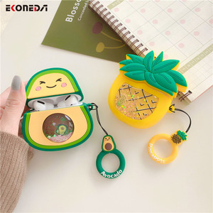 Image 2 - EKONEDA Liquid Glitter Protective Case For Airpods Strawberry Pineapple Avocado Silicone Cover For Airpods Case airpod pro shell