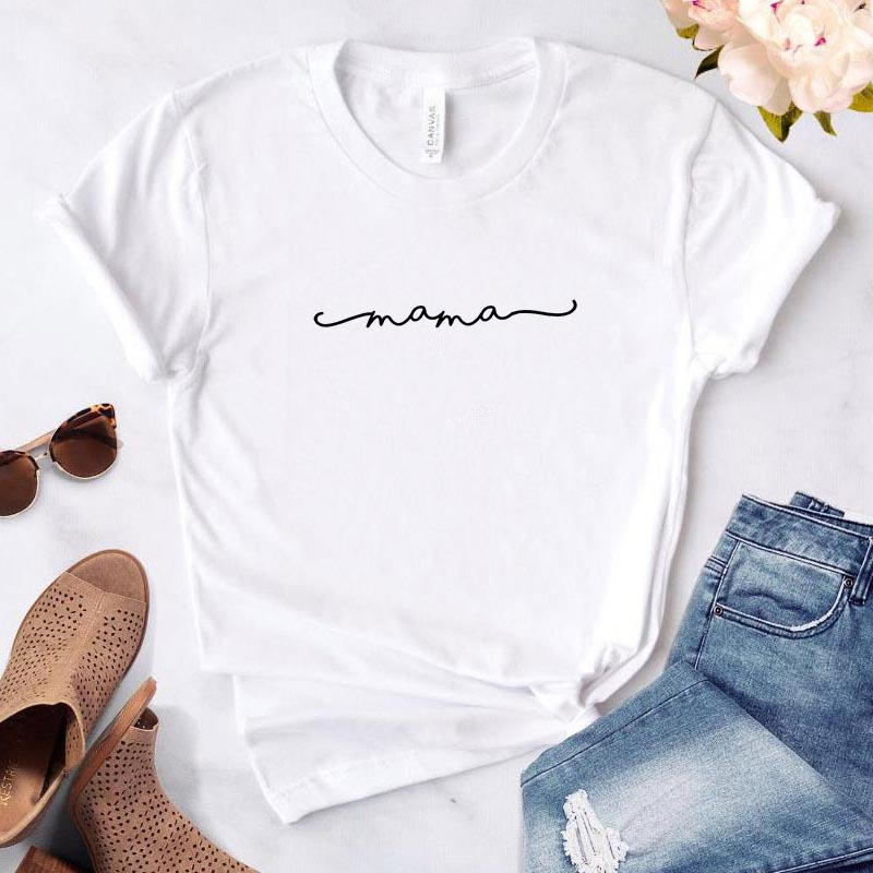 MAMA Letters Print Women Tshirt Casual Funny T Shirt Gift For Lady Yong Girl Korean Top Tee Kawaii Streetwear Camiseta Mujer