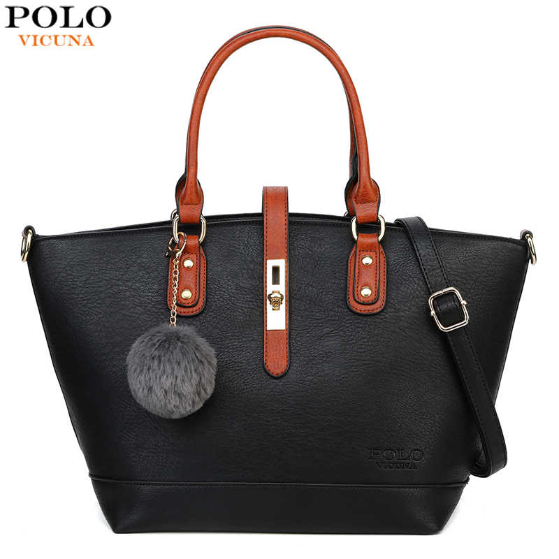 VICUNA POLO Personality Leather Handbags For Women With Fur Ball Brand Panelled Design Ladies Shoulder Bag bolsa feminina New