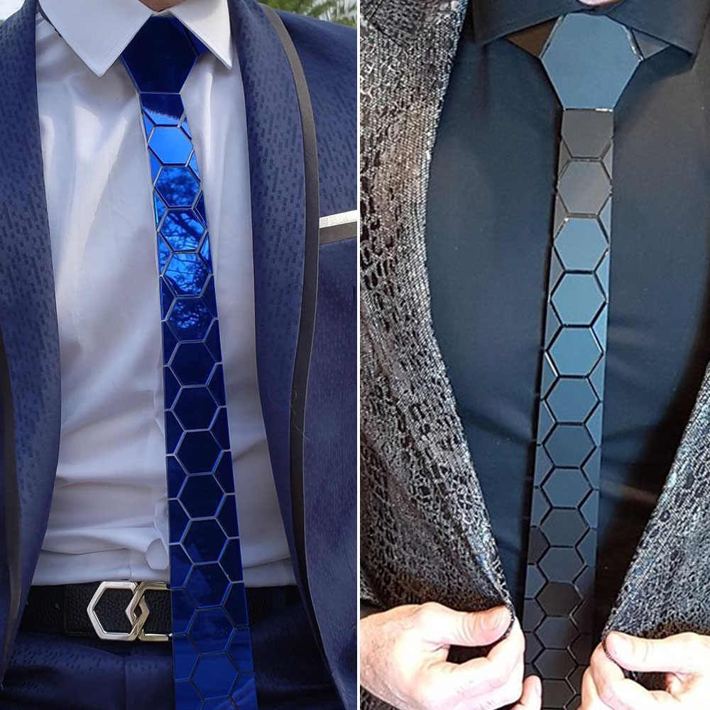 4 Colors Mirror Acrylic Men Slim Blue Necktie Glossy Hexagonal Plaid Bling Red Tie Silk for Wedding Party Business Gift