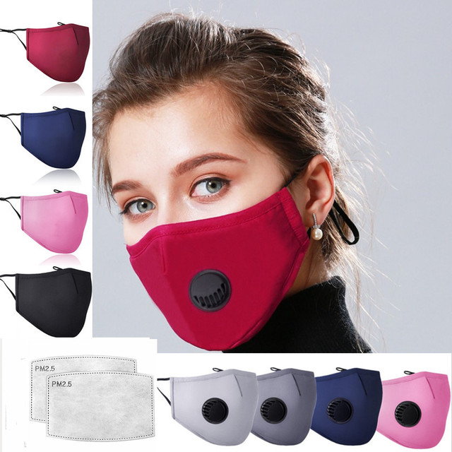 PM2.5 Mouth Mask Anti-dust Mask Reusable Mask with Breathing Masks whith 2pcs Filter Washable Mouth Face Masks