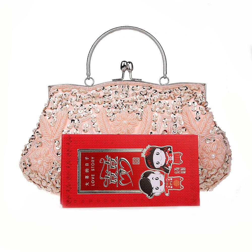 Perles à coudre à la main sac de soirée rétro forme classique Hobos tisser fleurs moraillon pochette sac à main de mode pour robe élégante dame