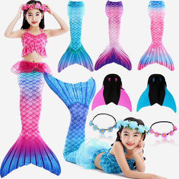 Newest Styles 7PCS/Set Mermaid Tail Swimsuits With Monofin For Kids Girls Swim Class Dress Costumes With Mermaid Necklace flounce swim dress set