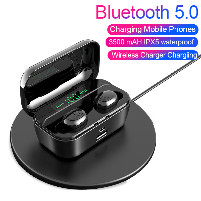 TWS Bluetooth 5 0 Earphone 8D Hifi Stereo Wireless Headset Led Power Display For Samsung Huawei Xiaomi all Smartphone Power bank in Phone Earphones Headphones from Consumer Electronics