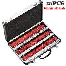 35PCS one set 8mm Shank Tungsten Carbide Router Bit Set Wood Woodworking Cutter Trimming Knife Forming Milling w/ Wood Case box drillforce 35pcs 1 4 6 35mm router bits set professional shank tungsten carbide router bit cutter set aluminun case for wood