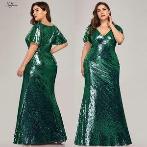 Image 2 - Plus rozmiar różowe złoto syrenka kobiety sukienki z krótkim rękawem cekinami dekolt Bodycon eleganckie sukienki Maxi na szata na imprezę Femme 2020