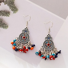 2020 Colorful Beads Tassel Jhumka Indian Ethnic Bollywood Dangle Earrings For Women Gypsy Tribe Round Carved Fashion Jewelry