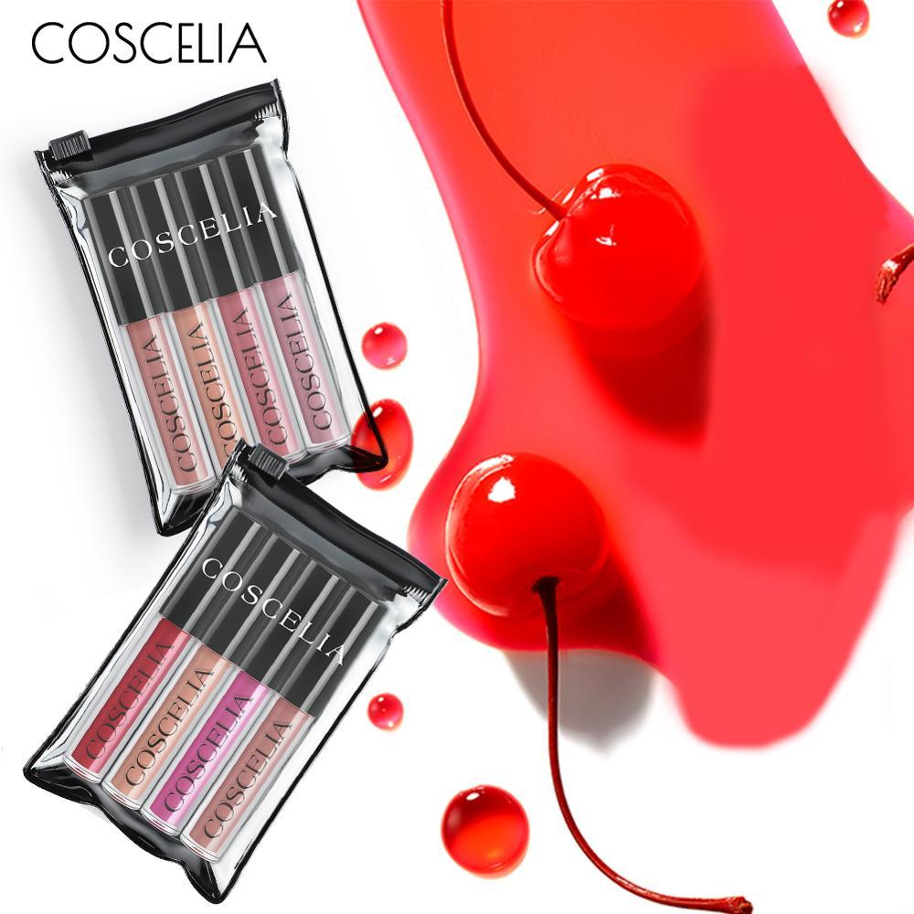 COSCELIA 2019 4Pcs/Set Waterproof Matte Lipstick Fashion Moisture Smooth Lip Stick Long Lasting Lip Gloss Cosmetic Beauty Makeup
