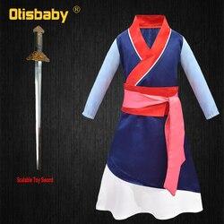 New Movies Halloween Child Hua Mulan Costume Christmas Girls Mulan Dress Children Traditional Chinese Clothes Mulan Hair Sword