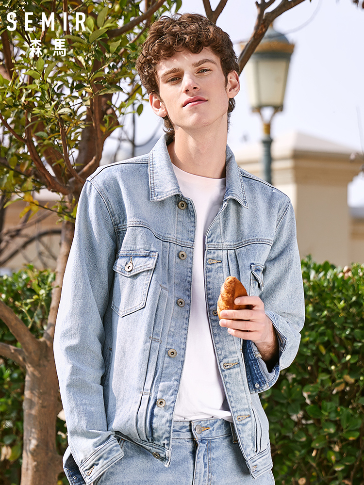 SEMIR Jacket Men 2020 New Denim Jacket Spring New Lapel Teen Washed Old Denim Tide Cotton Long Sleeve Coat