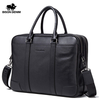 BISON DENIM Genuine Leather Men Bag Business 15.6 Laptop Handbag Double Zipper Messenger Bags Cowhide Male Shoulder Bag W2942
