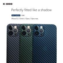 K-doo ar carbono ultra fino capa traseira 0.4mm espessura super fino fibra de carbono padrão caso para iphone12 /12pro/12mini/12promax