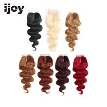 """Cheveux humains avec fermeture à lacets 4x4 # 1B/4/27/30/33/99J/bourgogne 8 """" 20"""" Extension brésilienne IJOY de cheveux de fermeture de vague de corps non remy de M"""