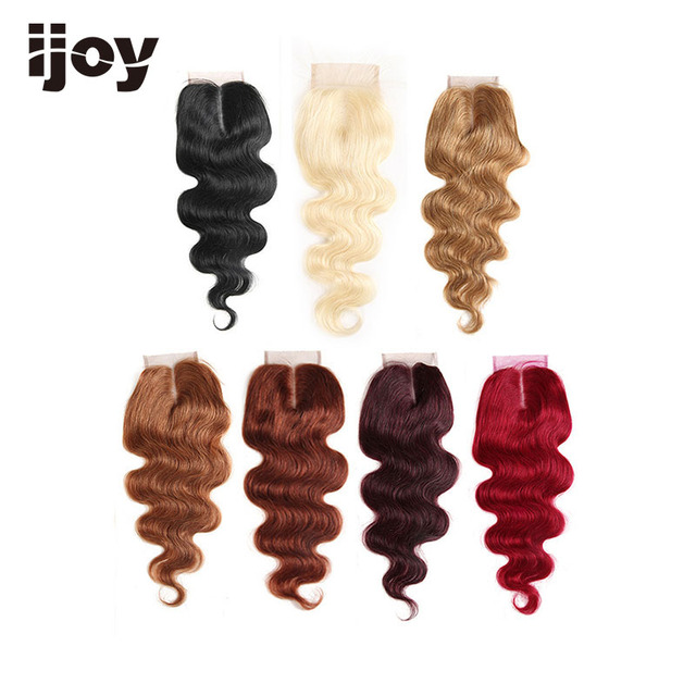 "Human Hair With 4x4 Lace Closure #1B/4/27/30/33/99J/Burgundy 8"" 20"" M Non Remy Body Wave Closure Brazilian Hair Extension IJOY"