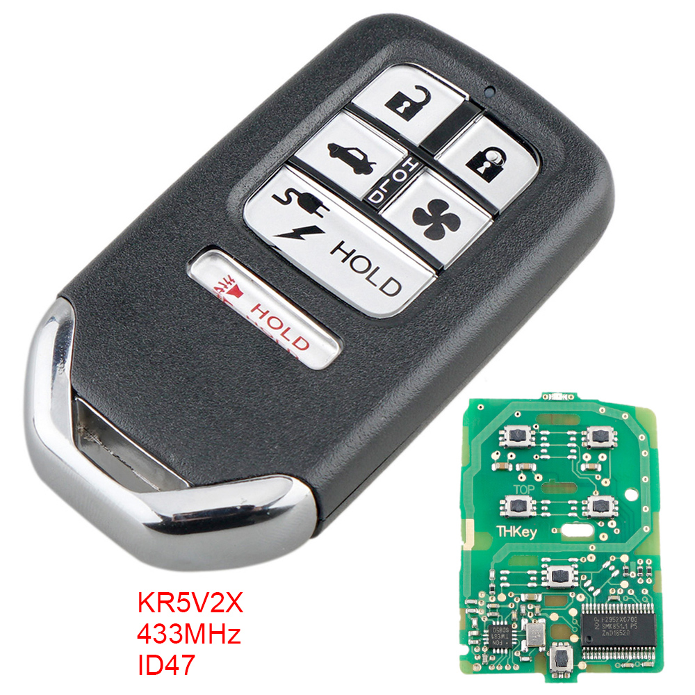 433Mhz FSK 6 Buttons Smart <font><b>Keyless</b></font> Car <font><b>Remote</b></font> Key Fob Replaement with ID47 Chip KR5V2X Fit for <font><b>Honda</b></font> Clarity 2018 Car Vehicle image