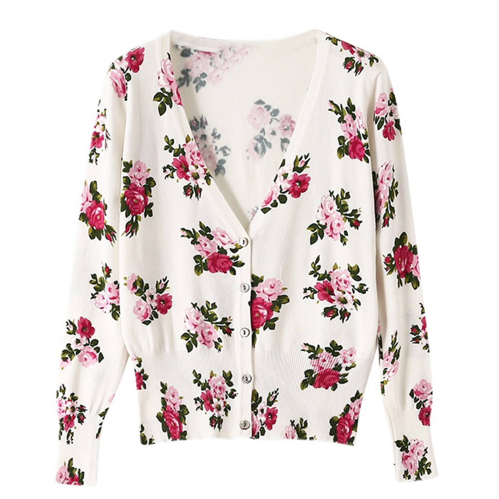 Women's 2020 Autumn And Winter Casual Rose Knit Sweater Cardigan Elegant Wild Loose V-neck Sweater Coat Comfort