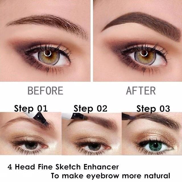 Microblading Eyebrow Tattoo Pen 4 Head Fine Sketch Liquid Eyebrow Pencil Waterproof lasting Tint Eye Brow Pen Smudge-proof TSLM1 2