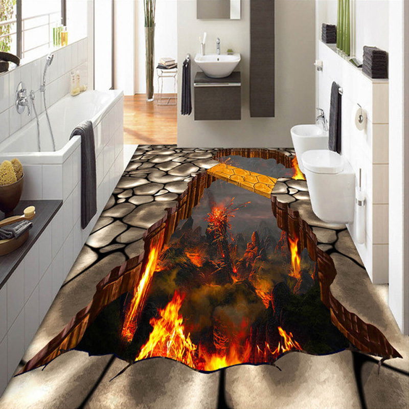 Custom Mural 3D Stereoscopic Flames Living Room Bathroom Floor Sticker PVC Self-adhesive Waterproof Floor Wallpaper For Wall 3D