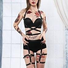 Kadın demeti vücut kemer seksi jartiyer esaret kemer Punk gotik fetiş Bdsm kölelik seksi takım elbise yüksek bel askı Lingerie kırpma