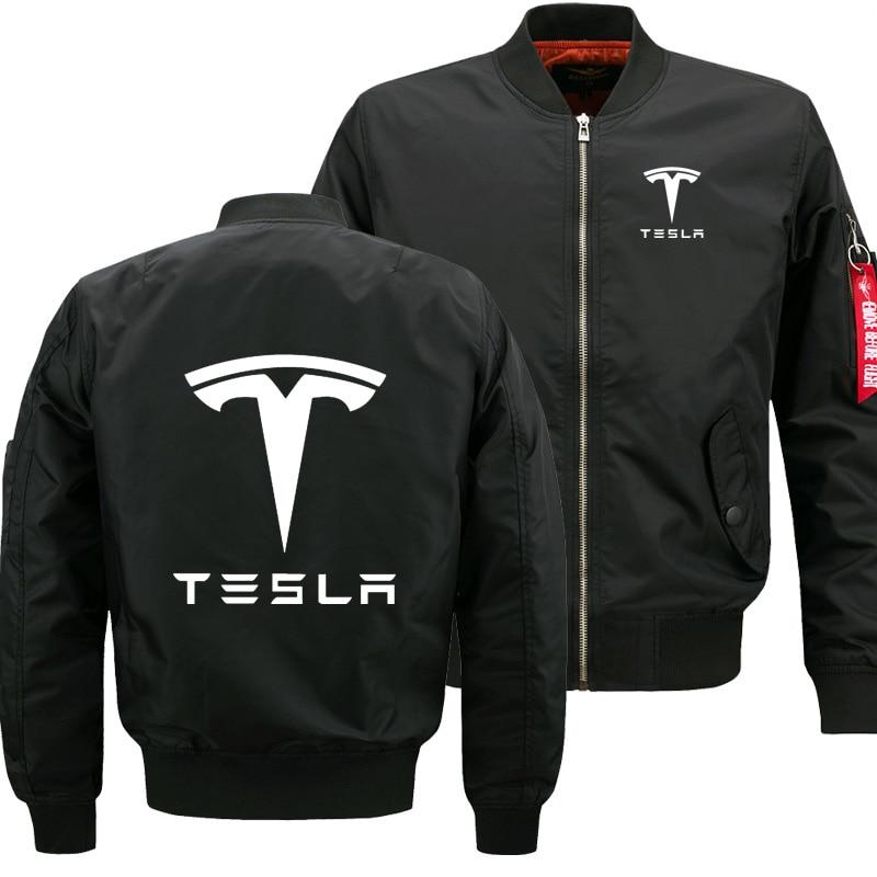 Men Zipper Flying Jacket Men Coat Tesla Car Logo Print Cotton Quick Dry Sweatshirt British Style Leisure Man Clothing Selling
