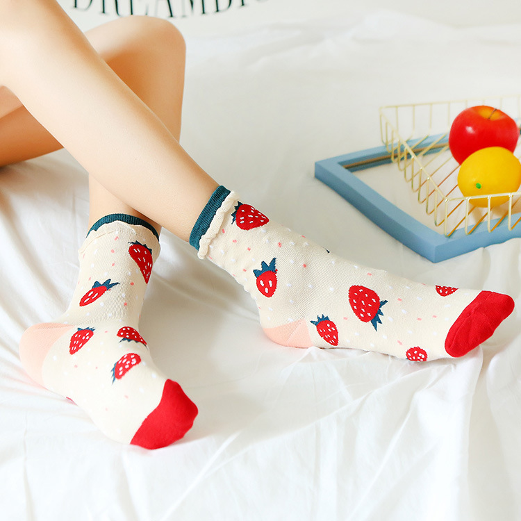Cartoon Fruit Strawberry Kawaii Socks Women Japanese Korean Jarajuhu Stye Bubble Mouth Funny Socks Cotton For Ladies 102004