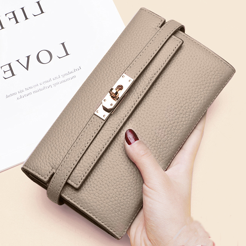 New Genuine Leather Designer Wallets  Women Wallet Fashion Money Bag Cell Phone Pocket Ladies Luxury Long Purs Q066