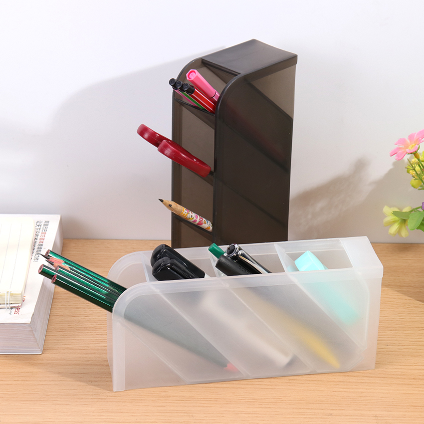 1PC Creative Oblique Insert Pencil Pot Makeup Brush Holder Multi-Function 4 Grid Stationery Desk Tidy Container Office Supplies