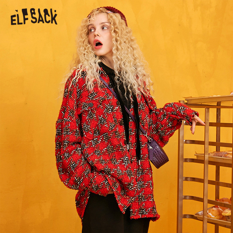 ELFSACK Red Plaid Straight Single Breasted Wool Coats Women 2019 Winter Long Sleeve Warmness Loose Office Ladies Sweety Outwear - 2