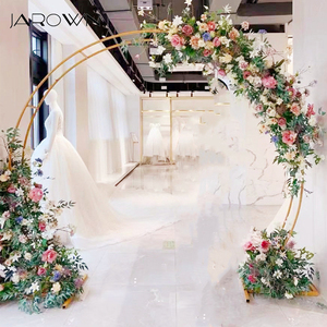 Image 1 - JAROWN New Wedding Double Ring Single Pole Arch Round Wedding Decoration Flower Stand Home Party Background Decorative Shelf